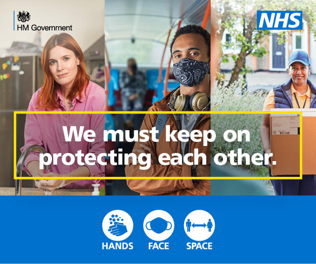 Government brand campaign to protect reminding us to wash our hands, cover our face, make space.