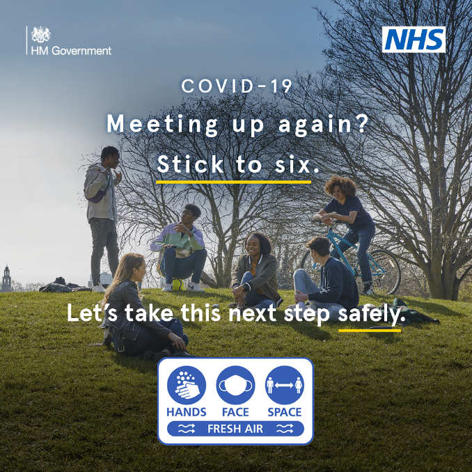 Government brand campaign reminding us to only meet friends outdoors and to keep it to 6 people or less.
